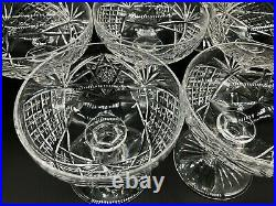 Set of 8 High Quality Cut Crystal Champagne/Sorbet Stems Glasses Czech