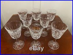 Set of 8 True Vintage WATERFORD CRYSTAL Lismore 6 oz Wine Glasses 5-7/8