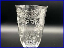 Set of Ten Stunning Fostoria MEADOW ROSE Ice Tea Glasses Stemware