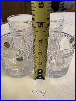 Signed Ralph Lauren Glen Plaid Set Of 4 Crystal Double Old Fashioned Glasses New