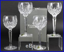 Signed Set 4 Waterford Cut Crystal Lismore Art Glass Wine Hock Goblets with Box NR