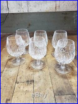 Signed Vintage Waterford Crystal Lismore set of 6 Brandy Snifters 5