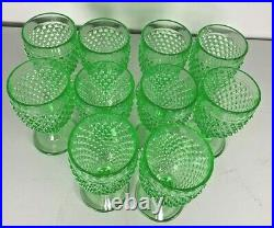 Smith Glass Company Hobnail Green Water Goblet Set of 10