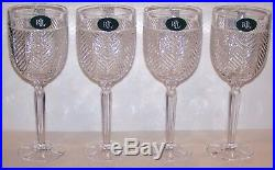 Stunning Set Of 4 Ralph Lauren Crystal Herringbone 9 1/4 Water Goblets