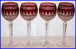 Stunning Set Of 4 Signed Waterford Crystal Clarendon Ruby Red Wine Hock Glasses