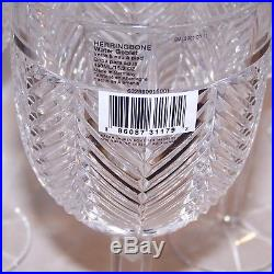 Stunning Set Of 6 Ralph Lauren Crystal Herringbone 9 1/4 Water Goblets