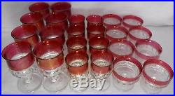 TIFFIN crystal KING'S CROWN Cranberry Flash 24-piece SET for 8 Water Wine Champ