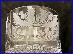 Thistle Cut Double Old Fashioned Crystal Glass Made in Edinburgh Set of 2