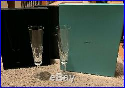 Tiffany & Co Crystal SYBIL Fluted Champagne Goblets Set of 2 MINT in Box