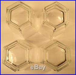 Tiffany & Co Frank Lloyd Wright Double Old Fashioned Hexagon Crystal Glass-Set 4