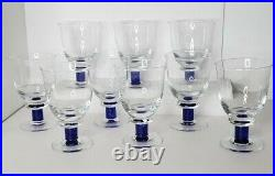 Used DENBY Magnum blue Water Goblet Blue Base Clear Bowl 6 /4 inch set of 9