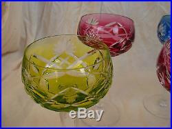 VAL ST LAMBERT SUPERB CUT CRYSTAL WINE GLASSES, SET OF 6, SIGNED