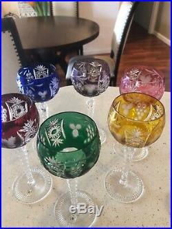 VAL ST LAMBERT Set Of 6 COLOR TO CLEAR WINE Goblets Vintage