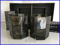 VERSACE MEDUSA Lumiere Haze Crystal WHISKEY Set of 2 Rosenthal