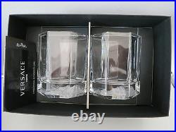 VERSACE Rosenthal MEDUSA LUMIERE Clear WHISKEY Set of 2 NEW in BOX Whisky