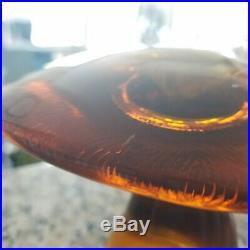 VIKING Glass AMBER 3-Piece Mushroom Set- SMALL LARGE JUMBO Paperweight
