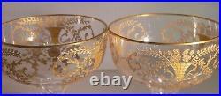 VINTAGE-1930's Cambridge HOLLOW STEM Gold Etch Portia Coupe Champagne -Set of 2
