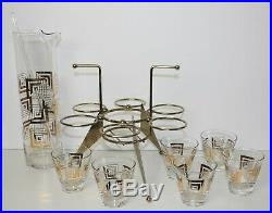 VTG 22 Kt Gold Geometric ATOMIC Mid Century Modern Martini Set RETRO Barware FAB
