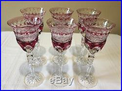 VTG Set of 6 Wine Glasses Water Goblets THARAUD Ruby Cranberry Cut Crystal