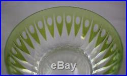 VTG Val St Lambert Bowl Zermatt Green Cut Glass Set of 2 Finger Fruit Dessert