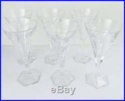 Val St Lambert set 6 signed Hafnia crystal water wine glasses stemware