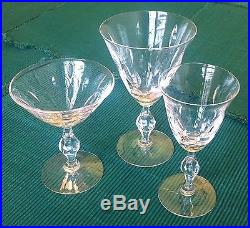 Vintage 1960's Crystal Glasses Set Martini/Wine/Cordial for 12 32 pieces