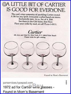 Vintage 1970s CARTIER Crystal Aperitif Dessert Wine Glasses Set of 6 Cut Pattern