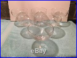 Vintage 1970s CARTIER Crystal Champagne Bowls not Flutes Set of 6 Cut Pattern