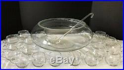 Vintage 22 Pc Hand Blown Crisa Moderno Punch Bowl Set Ladle 20 Cups 1960s