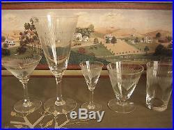 Vintage Crystal Glasses Set of 25 Lined Etched Art Deco