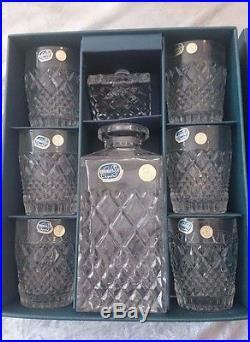 Vintage Czechoslovakia Bohemia Crystal Whiskey Set of Six Glasses Decanter