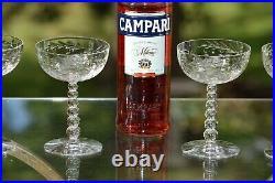 Vintage Etched CRYSTAL Cocktail Glasses, Set of 4, Vintage Champagne Coupes