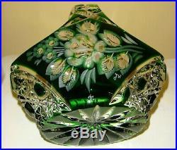 Vintage Lausitzer Bleikristall Crystal Vase And Basket Set Green GDR Germany