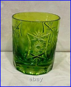 Vintage Nachtmann Traube Cut To Clear Lime Green Crystal Set 6 Whiskey Tumblers