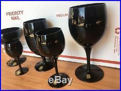 Vintage Noritake SASAKI 40-piece Wine Goblet Stem Set RARE BLACK Color NEW (NOS)