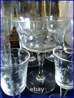 Vintage Noritake Sasake Crystal Etched Bamboo Glassware set of 20