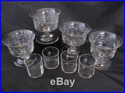 Vintage Pairpoint Engraved Crystal, ABP Cut Glass Barrington Shrimp Cocktail Set