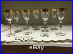Vintage Tiffin Rambler Rose After Dinner Wine Goblets with gold rim set of 11