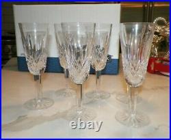 Vintage Waterford Crystal Lismore Champagne Flute Glasses Set Of Six (6) 7 1/4