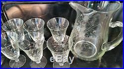 Vtg Crystal Glass Drink Set Wheel Cut Pitcher 6 Goblets Starburst Design