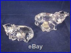 WATERFORD CRYSTAL Nativity Set of 2 Lambs / Sheep EXCELLENT with STICKER