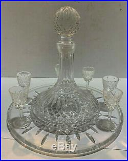 WATERFORD matching set ALANA Ships Decanter, 6pc Liqueur glasses & 12 plater