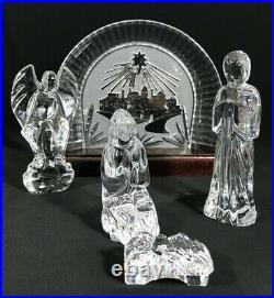 Waterford 5 Pc Nativity Set Jesus Mary Joseph Angel Bethlehem Backdrop on Base
