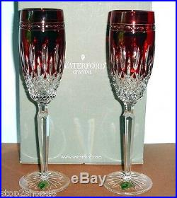 Waterford CLARENDON Champagne Flutes Ruby Red Set of 2 New In Box