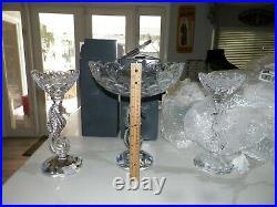 Waterford Crystal 3 Pc Set Sea Horse Pillar Candlesticks & Centerpiece Bowl Nib