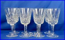 Waterford Crystal 6 7/8 Lismore Water Goblets Stemware Set Of 8
