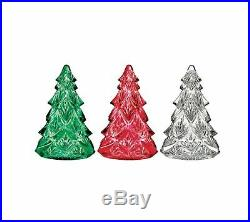 Waterford Crystal Christmas Tree Figurines Set of 3 Red Clear Green NEW