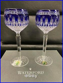 Waterford Crystal Clarendon Colbalt Blue Wine Hock Glasses Set of 2
