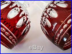 Waterford Crystal Clarendon Ruby Red Hock Wine Glass Goblet, signed set of 2