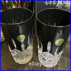 Waterford Crystal Lismore Black Barware Collection Set of 2 Highballs New In Box